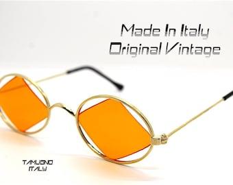 Occhiali da sole ovale vintage oro lente arancio a rombo, Sunglasses oval gold metal orange lens to rumble hippie HARLEQUIN Made in Italy