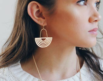 Arch Half Moon Rainbow Earrings | Statement Earrings | Rainbow Earrings | Half Moon Earrings | Gold Earrings | Brass Earrings | Geometric