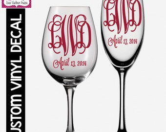 VINYL DECAL: DIY 3-Letter Monogram and Date Decals for Wine Glass