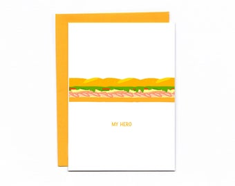 My hero - sandwich puns - funny card - thank you - Mother's Day - Father's Day - food jokes