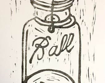 Ball Mason Jar linocut block print