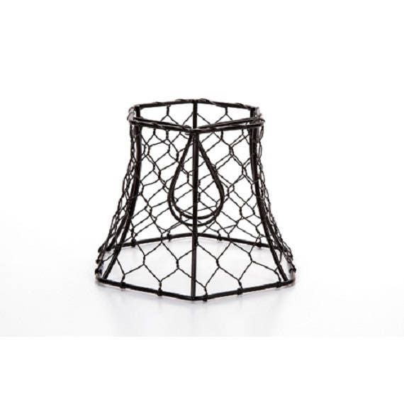 Chicken Wire Clip On Lamp Shade Hexagon Black Vintage Farmhouse ...