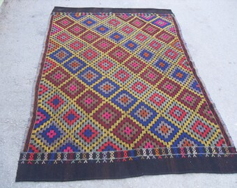 "Diamond design Kilim rug, Vintage Turkish rug, rugs, vintage rug, bohemian rug, eccentric rug, 68"" X 88 "" ( 170 cm X 220 cm )"
