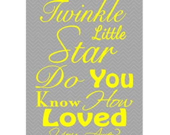 Twinkle Twinkle Little Star How Loved You Are GRAY and YELLOW Chevron Wall Art Nursery Room Decor Kids Room Art 11x14 Print (145)