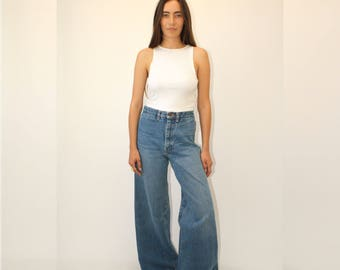 James Bell Bottoms // vintage 70s denim blue jeans boho hippie bottom dress high waist hippy cotton 1970s faded // S/M