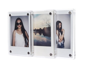 Made to order clear acrylic photo magnet frame with custom Instax / Polaroid photo
