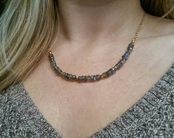 Labradorite necklace with shiny gold plated chain