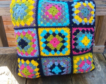 Handmade retro look crochet cushion cover in bright colours