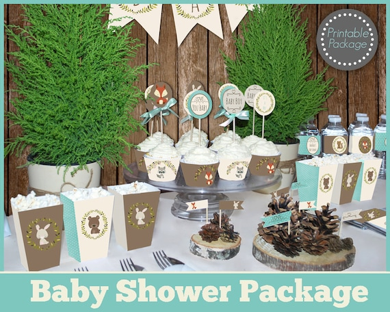 Boy Woodland Baby Shower Printable Mega Set, Animal Baby Shower Decorations,  Baby Boy Shower Decorations And Games, Printable Package