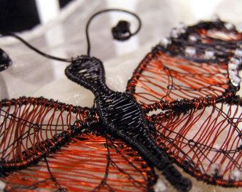 Monarch Butterfly Brooch, Butterfly Brooch, butterfly pin, wire butterfly, copper wire art, copper butterfly, minimalist butterfly, monarch
