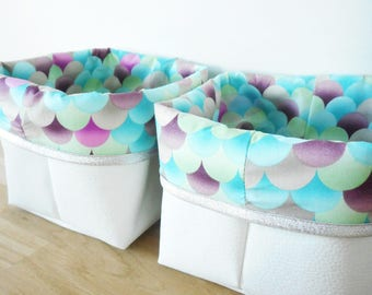 Model small storage basket, faux leather fabric and white printed multicolored scales, edge, blue green purple, wrap, baby