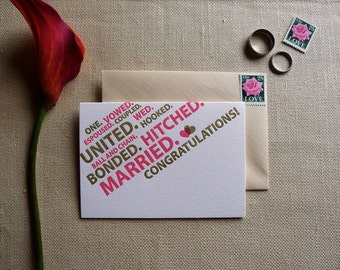 Married Word Cloud - Set of 4 Letterpress Cards