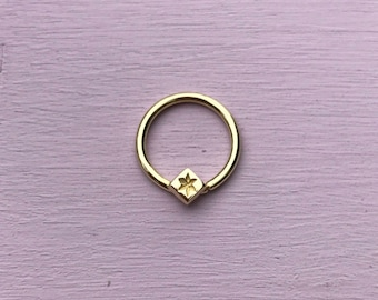 Nova Septum Ring - Solid 18ct Yellow, Rose or White Gold - Septum Daith Rook