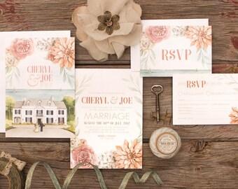 Custom Venue Painting with Dahlia, Hydrangea and Garden Rose Wedding Invitations & Stationery - SAMPLE - Botanical Art by Alicia's Infinity
