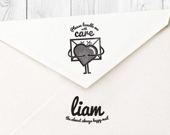 Liam 'please handle with care' rubber stamp - FREE SHIPPING WORLDWIDE*