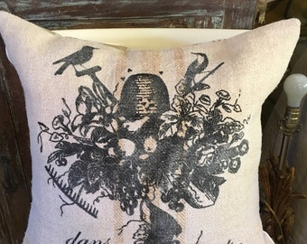 Vintage European Grain Sack Pillow Cover With French Bird Image
