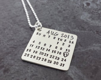 Mark the Date Calendar Necklace - Personalized Sterling Silver Necklace - Save the Date Copper Calendar