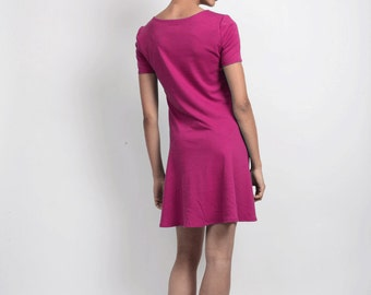 SALE Tallulah 20s Inspired Jersey Flapper Dress with Zig Zag Waist Detail. Everyday Casual Womens Mini Dress with Drop Waist Skirt in Pink
