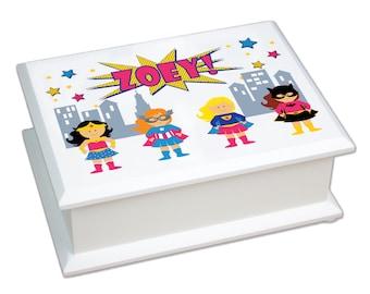 Personalized Super Hero Girls Jewelry Box white Supergirls jewelry box w batgirl supergirl wonder girl Girl Power Superhero Girl JEWEB-227b