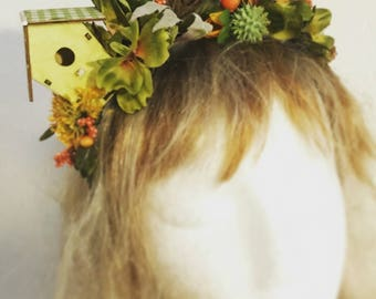 "FloralCrown ""Yellow Bird House"", Unique Headwreath"