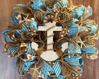 nautical wreath, anchor wreath, seaside wreath, beach wreath, summer wreath, starfish wreath, nautical rope wreath, nautical decor