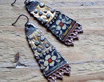 Recycled  tin earrings    *6