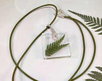 Fern Pendant Necklace, Fern Resin Necklace, Leather Cord Necklace, Fern Pendant On Leather Cord, Terrarium Necklace