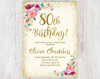 Boho Women Birthday Invite 80th Birthday Invitation Any Age