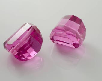 Faceted Hot Pink Quartz Nuggets