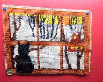 "Needlepoint Finished Cat in Window Approx. 10.5"" x 14"" Nicely Done Unframed Thick Yarn Cute Winter Scene"