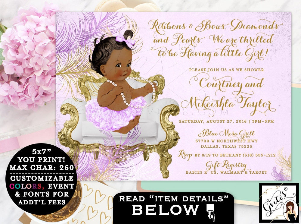 Purple and gold baby shower invitations, African American baby ...