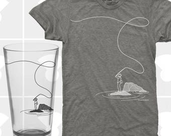 Fly Fishing, T Shirt & Pint Glass Set, Fly Fishing Shirt, Pint Glass, Fishing Gift, Fishing T Shirt, Fly Fisherman