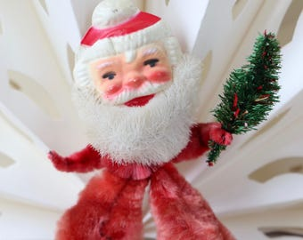 Vintage Small Chenille Pipe Cleaner Santa Claus Ornament, Vintage Pipecleaner Christmas Santa Ornament, Vintage Christmas