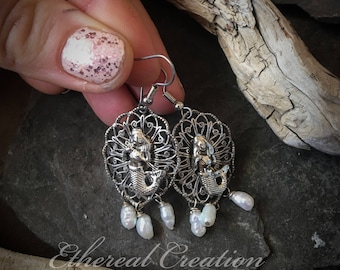 Silver Mermaid Earrings, Boho Mermaid Earrings, Rustic Mermaid Earrings, Mermaid Earrings, I Love Mermaids, Mermaid Jewellery,