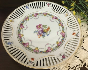 Beautiful Vintage German Reticulated Rim Plate with Floral Design Cuttings on Rim Bright White Vivid Florals Cabinet Plate Wall Art