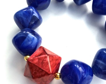 Geometry Statement Red and Blue Stretch Bracelet