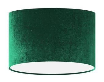 Green Velvet Lamp Shade, Handmade Fabric Lampshade, 20 30 40 cm, Large Small Light Shade, Drum Shade, Gift for her, Home Decor