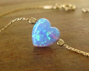 Opal bracelet, heart bracelet, silver bracelet, opal heart bracelet, blue opal bracelet, glistening bracelet, fire opal bracelet