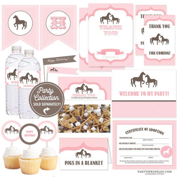 Pink vintage horse pony party adoption certificate printable pink vintage horse pony party adoption certificate printable file instant download yadclub