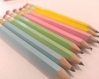 144 Pastel Mix. Mini short half Hexagon Golf #2 Pencils With erasers Pre-Sharpened Made In the USA - Non Toxic Latex Free Express Pencils TM