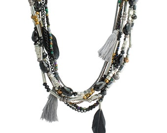Silver & Black Bead Necklace with Mystic Feathers