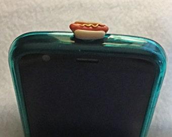 Hotdog Dust Cell Phone Plug/Deco. Phone bling/accessory.  Cell phone dust plug.