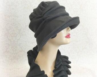 Winter Cloche Hat - Women's Cloche Hat - Downton Cloche - Fleece Cloche - Fleece Hat Flapper - 20's Flapper Cloche - Handmade in the USA