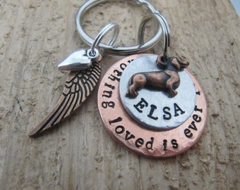 Dachshund memorial keychain,Nothing loved is ever lost, Dachshund memorial,memorial key chain,loss of pet, sympathy , Dachshund key chain