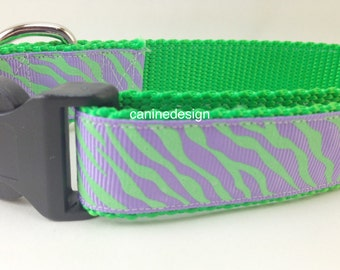 Dog Collar, Purple Green Zebra, 1 inch wide, adjustable, quick release, metal buckle, chain, martingale, hybrid, nylon