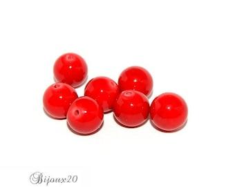 6 Jade 10 mm gemstone beads natural semi precious red Lot M04003