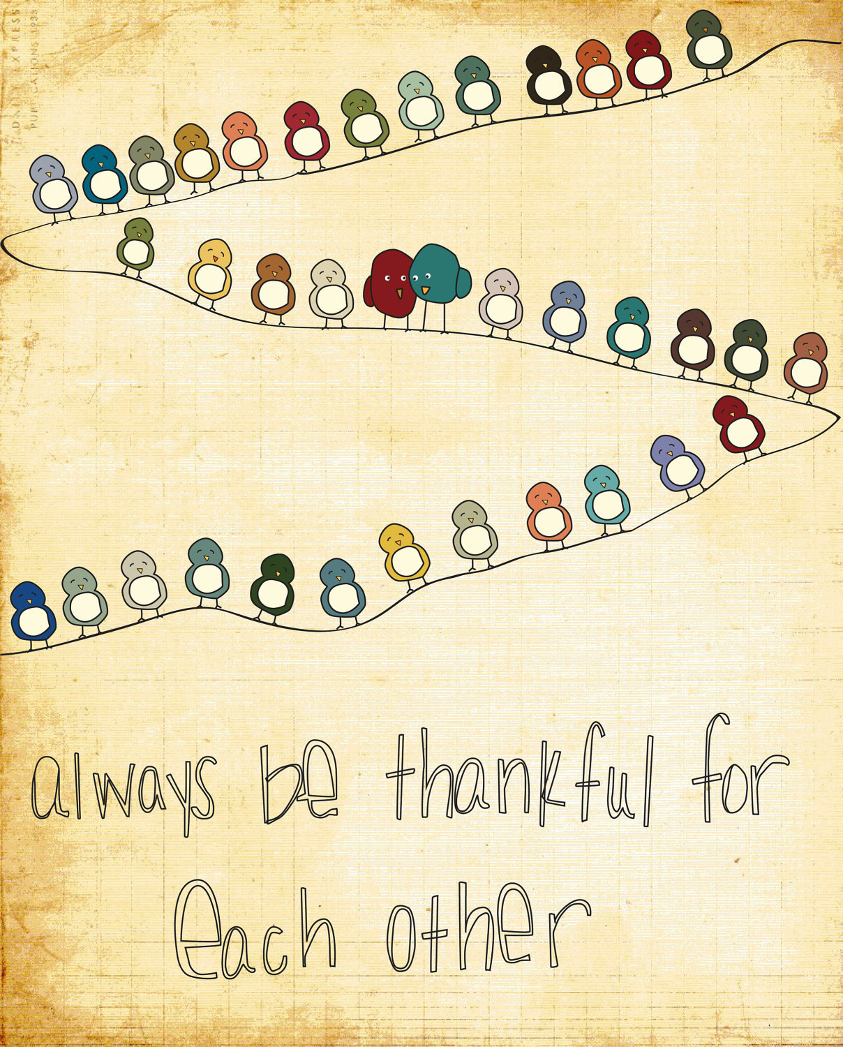 Nursery Wall Art Thankful For You Birds on a wire family