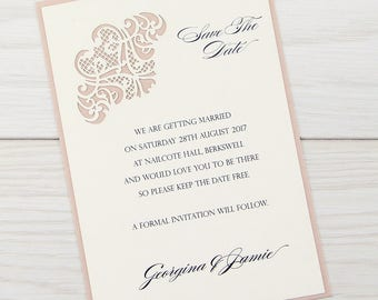 SAMPLE * Josephine Laser Cut Save The Date. Josephine Range