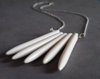 White Turquoise Sticks Necklace Turquoise Sterling Silver Boho Necklace Turquoise Jewelry by SteamyLab