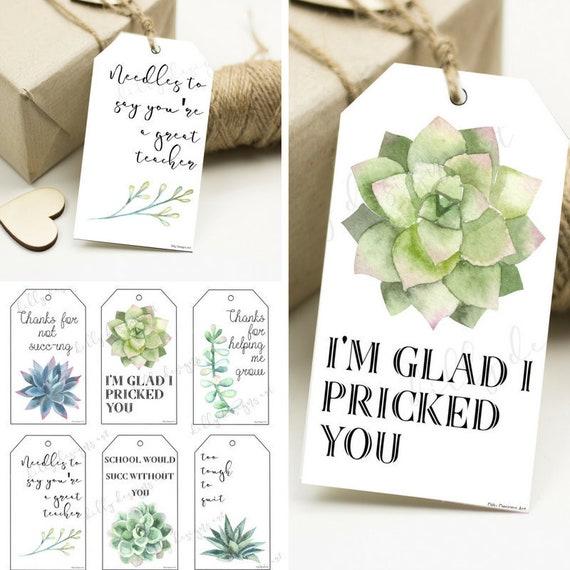 Succulent Tags, Succulent Gift Tags, Teacher Gift, Teacher